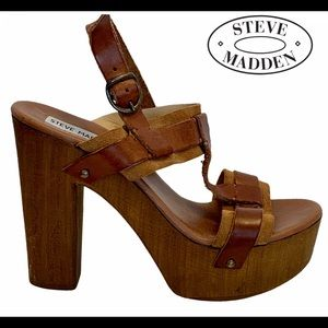 Steve Madden brown wooden platform clogs size 39